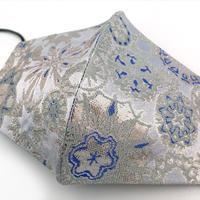 Lサイズ! 西陣織 金襴 絹織物 マスク 白地 白銀 雪輪紋様