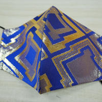 M  西陣織 金襴 絹織物 マスク 青地 三階菱紋様