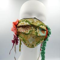 ニシジーナ きらめくゴージャスマスク 緑地 唐花紋様 一点もの 111
