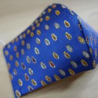 西陣織 金襴 絹織物 布マスク 青地 しずく紋様