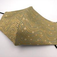 Lサイズ! 西陣織 金襴 絹織物 マスク 白茶地 青 水紋 Water Crest B