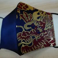M  西陣織 金襴 絹織物 マスク 紺地 ドラゴン紋様  赤金