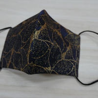 Lサイズ! 西陣織 金襴 絹織物 マスク 紺地 葉脈紋様