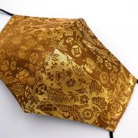 Lサイズ! 西陣織 金襴 絹織物 マスク 利休茶地 市松宝尽くし紋様