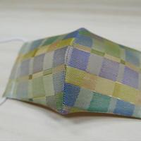 西陣織 金襴 絹織物 布マスク 格子紋様