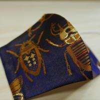 Lサイズ! 西陣織 金襴 絹織物 マスク 紺地 虫紋様 Ⅱ
