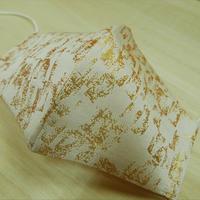 M 西陣織 金襴 絹織物 マスク 白地 古都箔紋様 白金