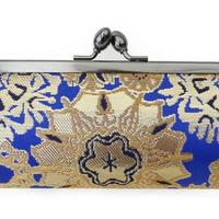 西陣金襴 正絹 仕切り付き がまぐち 紺地 雪輪紋様