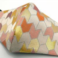 Lサイズ! 西陣織 金襴 絹織物 マスク 白地 矢つなぎ紋様 A