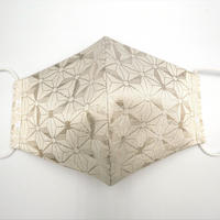 Lサイズ! 西陣織 金襴 絹織物 マスク 白地 銀 麻の葉紋様