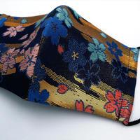 M 西陣織 金襴 絹織物 布マスク さくら紋様 箔雲