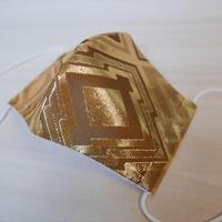 M 西陣織 金襴 絹織物 マスク 利休茶地 三階菱紋様