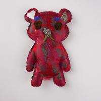 ニシジーナ 妖精くまポフ kumapuff  赤地 アフリカ紋様 一点もの 114
