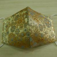 M 西陣織 金襴 絹織物 布マスク 白茶地 雪輪紋様小柄 水黄 アイスシルクコットン裏地