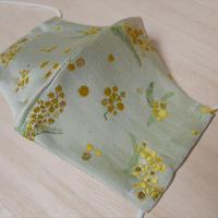 西陣織 金襴 絹織物 マスク 白地 ミモザ紋様 光箔
