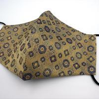 Lサイズ! 西陣織 金襴 絹織物 マスク 白茶地 正倉院紋様 G