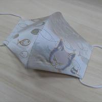Lサイズ! 西陣織 金襴 絹織物 マスク nya! cat にらみちゃん 水色