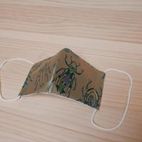 西陣織 金襴 絹織物 マスク 白茶地 虫紋様