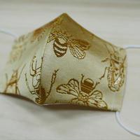 西陣織 金襴 絹織物 布マスク 虫紋様 白茶地 C 黄金