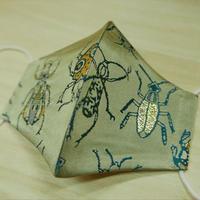 Lサイズ! 西陣織 金襴 絹織物 マスク 白茶地 虫紋様