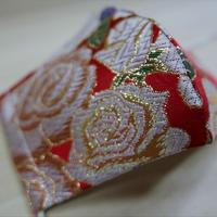Lサイズ! 西陣織 金襴 絹織物 布マスク バラ紋様