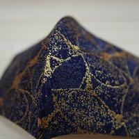 M 西陣織 金襴 絹織物 マスク 紺地 葉脈紋様