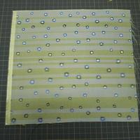 西陣売り 絹織物 こぎれ 白茶地 ストライプ&フラワー紋様  J 青、紺