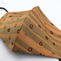 Lサイズ! 西陣織 金襴 絹織物 マスク 白茶地 ストライプ&フラワー紋様 L