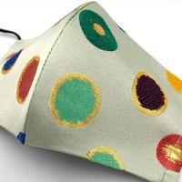 M 西陣織 金襴 絹織物 マスク 水玉紋様