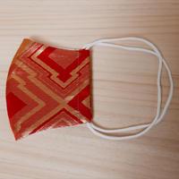 M 西陣織 金襴 絹織物 マスク 赤地 三階菱紋様 アイスシルクコットン裏地