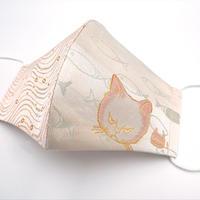 Lサイズ! 西陣織 金襴 絹織物 マスク nya! cat にらみちゃん 桃色 と水紋揺らぎ紋様のコンビ