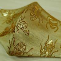 Lサイズ! 西陣織 金襴 絹織物 布マスク 虫紋様 白茶地 C 黄金