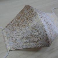 Lサイズ! 西陣織 金襴 絹織物 マスク 白地 葉脈紋様  白金