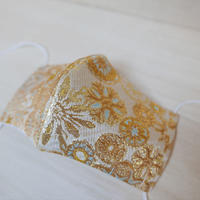 L 西陣織 金襴 絹織物 布マスク 白地 雪輪紋様 白黄 アイスシルクコットン裏地