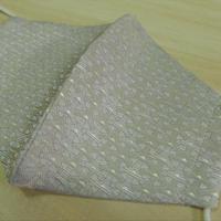 Lサイズ! 西陣織 金襴 絹織物 マスク 白地 独楽つなぎ紋様 白銀