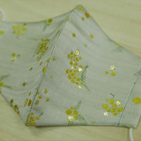 Lサイズ! 西陣織 金襴 絹織物 マスク 白地 ミモザ紋様 さび箔