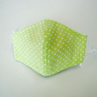 子供用マスク 077 Wガーゼ黄緑×白ドット柄