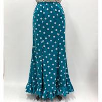 ニットスカートNSK-016 水玉ベロア ブルー×白 Lサイズ
