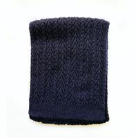 アラン編みマフラー ネイビー  ベビーアルパカ100%