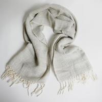 手織りショール/グレー アルパカ100%