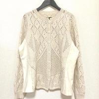 アルパカ手編み透かし編みカーディガン