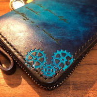Steam punk Wallet / Cobalt blue