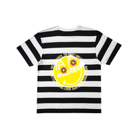 "【Back style】Yellow ""MAKEY SMILEY"" Big silhouette T-shirts /【Black×White】"