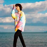 """Brilliant Rainbow""  Big silhouette Tie dye LS T-shirts【 XL size only 】"