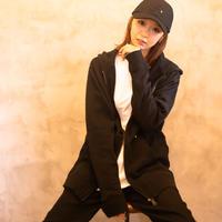 【 Back 】MAKEY SMILEY[ Yellow ] / Double zip hoodie  [  Black ]