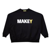 "WHITE ""MAKEY LOGO"" Big silhouette Sweatshirt【Black】"