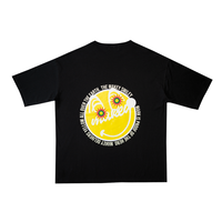 "【Back style】Yellow ""MAKEY SMILEY"" Big silhouette T-shirts /【Black】"