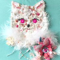 "刺繍 アート ビーズ 猫   ""Miaou Miaou..Blue/Pink.."""