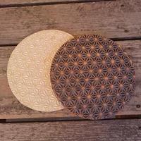 麻模様の陶板丸形 Sサイズ  2枚セット