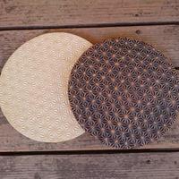 麻模様の陶板丸形 Mサイズ 2枚セット